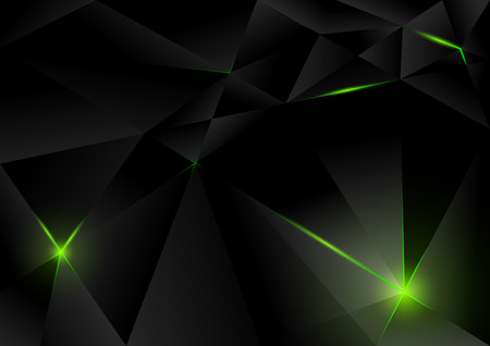 Black Lightning Crystals Background - Abstract Illustration Vettoriali