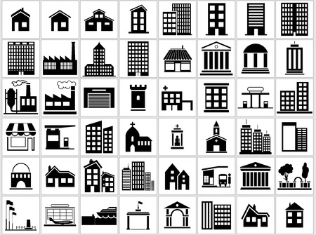 park icon: Building Icons Set - Black and White Icon Collection, Illustration Illustration