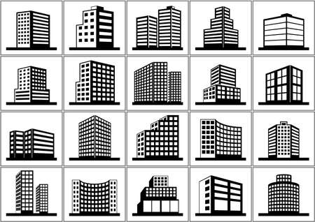 office block: Building Icons Set - Black and White Icon Collection, Illustration Illustration