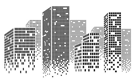 office block: Dotted Skyscrapers Panorama - Buildings and City Illustration,