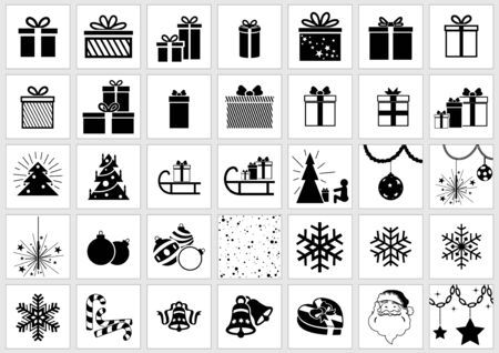 snow chain: Christmas Icons Collection - Black Xmas Illustrations