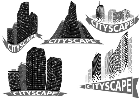 office block: Cityscape Set - Buildings and City Scene Illustrations Illustration