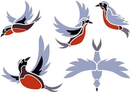 Set Flying Birds Icons - farbige Abbildungen