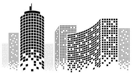 Dotted Skyscrapers Panorama - Buildings and City Illustration
