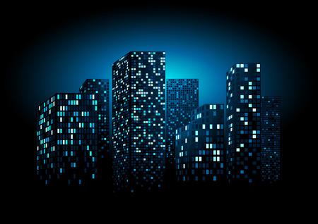 city background: Night City Skyline - Background Illustration