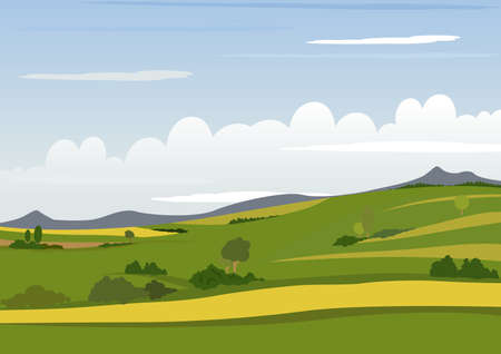 pasture: Spring Mountain Landscape - Background Illustration