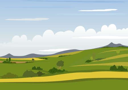 alpine: Spring Mountain Landscape - Background Illustration