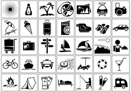holiday vacation: Vacation and Holiday Icons - Basic Black Illustrations, Vector