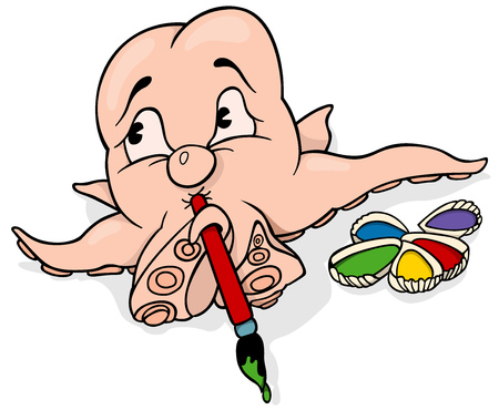 Octopus Painter with Brush and Colors in Shells - Vector Cartoon Illustration