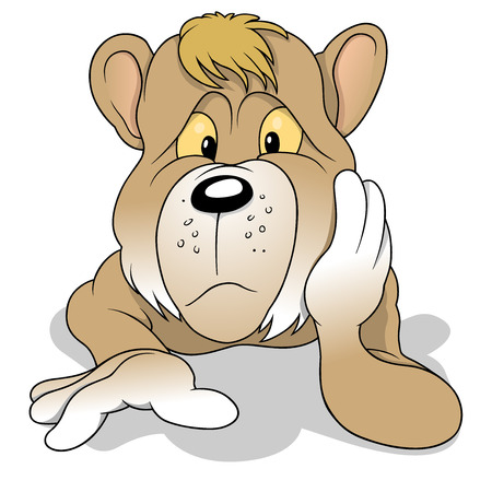 thoughtful: Thoughtful Brown Bear - Colored Cartoon Illustration, Vector Illustration