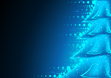 abstract tree: Blue Glowing Abstract Christmas Tree - Background Illustration, Vector Illustration