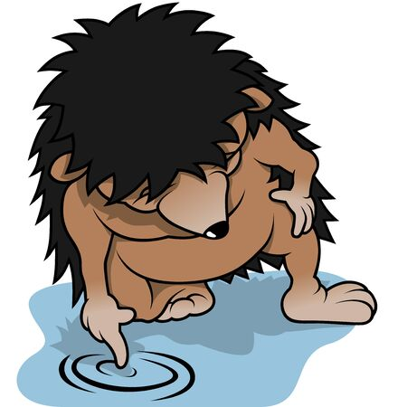 Hedgehog And Water Puddle - Colored Cartoon Illustration, Vector