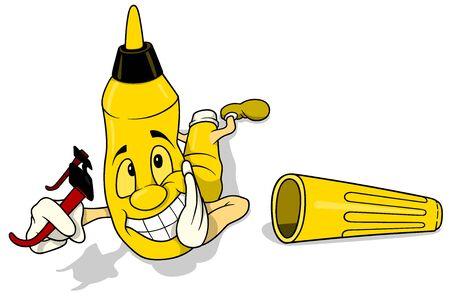 felt tip: Yellow Laying Felt Tip Pen - Colored Cartoon Illustration, Vector