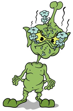 enraged: Green Extraterrestrial Standing - Colored Cartoon Illustration, Vector