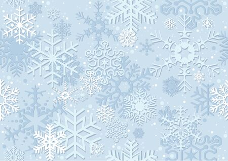 christmas paper: Blue Christmas Paper With Snowflakes - Repetitive Pattern, Background Illustration, Vector