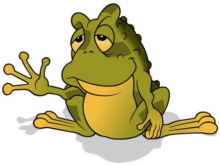 apathy: Sleepy Green Frog - Colored Cartoon Illustration, Vector