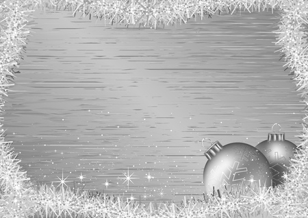 metallic texture: Silver Christmas Background with Baubles and Christmas Chains over Silver Metallic Texture - Vector Illustration