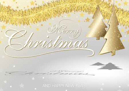 christmas wallpaper: Christmas Greeting Card with Hanging Christmas Tree Ornaments - Background Illustration, Vector