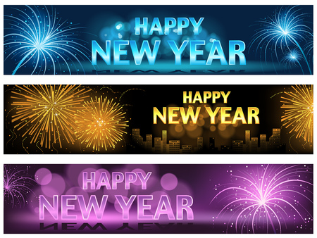 Happy New Year Banner or Website Banner Set - Colorful Illustrations, Vector Illustration