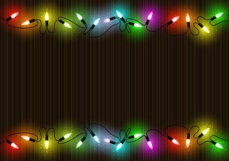 Colorful Glowing Christmas Lights over Mahogany Background with Colored Light Dust Effect - Abstract Illustration, Vector Illustration