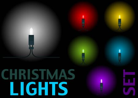led light: Christmas LED Light Set, 6 colors - Design Elements Illustration,