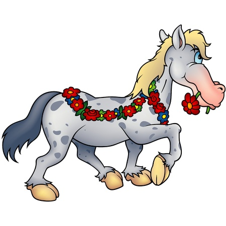 whitehorse: Spotted Gray Horse Draped In A Floral Garland, Biting A Red Daisy In Its Mouth