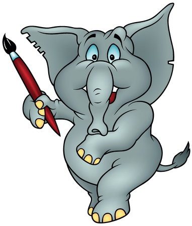 Blue Eyed Elephant Holding Red Paint Brush - Colored Cartoon Illustration, Vector