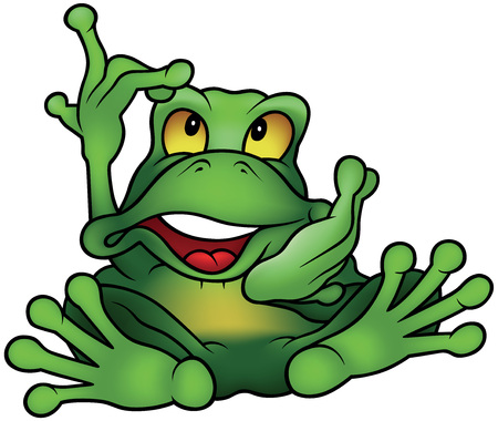 chatty: Chatty Green Frog Sitting and Pointing - Colored Cartoon Illustration, Vector