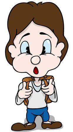 schoolkid: Schoolboy with Surprised Face - Cartoon Illustration, Vector