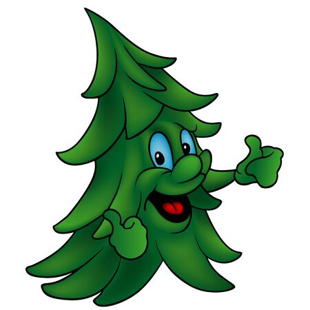 solitary: Coniferous Tree with Thumbs Up - Colored Cartoon Illustration, Vector Illustration