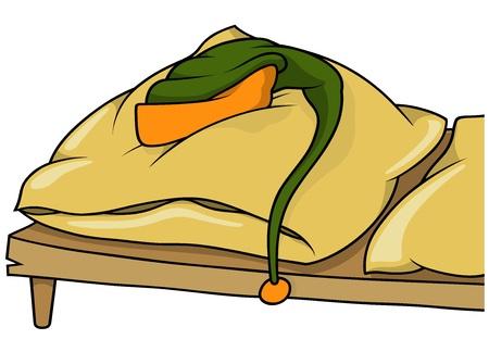 duvet: Laying Cap on a Bed - Cartoon Illustration, Vector Illustration