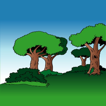 alley: Tree Alley - Cartoon Background Illustration, Colored Vector