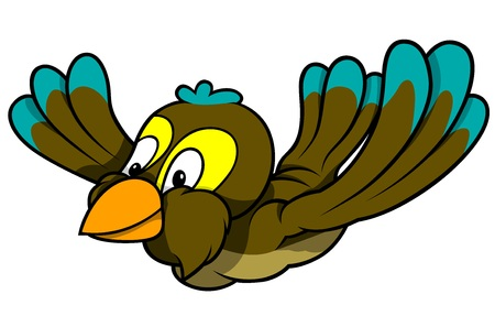 Flying Turquoise-Brown Sparrow - Colored Cartoon Illustration, Vector