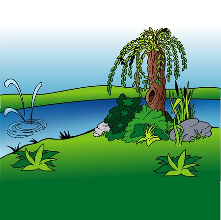 Willow And Stream - Cartoon Background Illustration, Colored Vector