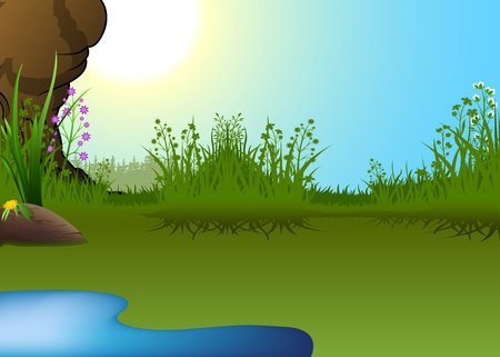 spring landscape: Cartoon Landscape with Little Pond - Vector Illustration Illustration