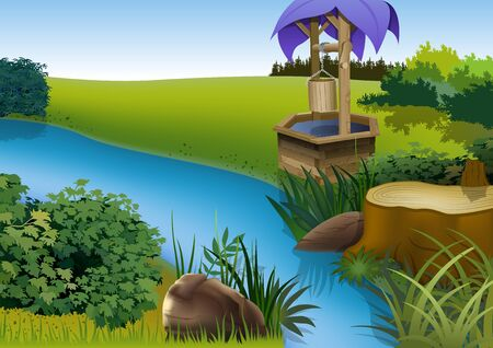 Summer Landscape and River - Cartoon Background Illustration, Vector Illustration