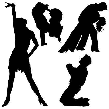 danza clasica: Dance Silhouettes - Black Illustrations And Classic Dance, Vector