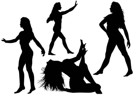 variety: Silhouetted Dancing Young Woman in Various Poses - Set of Black Illustrations, Vector