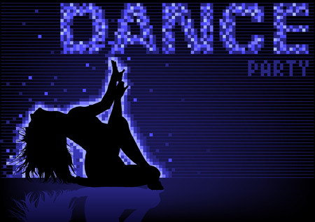 blue party: Blue Dance Party Background with Black Silhouetted Woman and Pixelated Neon Effect - Abstract Illustration, Vector