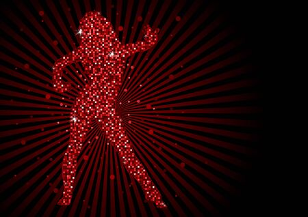 Sparkling Pixels Dancing Woman - Red Abstract Dance Party Background, Vector Illustration Illustration