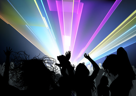 Dancing Crowd and Disco Light Show - Dance Party Background Illustration, Vector