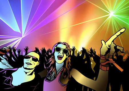 Disco Dance Party Background with Dancing People and Silhouetted Audience. Illustration