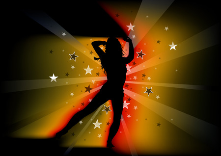 Silhouetted Dancing Young Woman and Light Beams with Stars - Abstract Background Illustration, Vector
