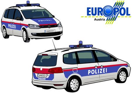 Österreich Polizeiwagen - Farbige Illustration aus Serie Europol, Vektor Vektorgrafik