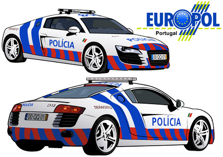 highway patrol: Portugal Police Car - Colored Illustration from Series Europol, Vector Illustration