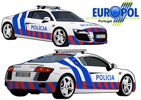 Voiture de police du Portugal - Illustration colorée de la série Europol, vecteur Vecteurs