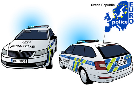 highway patrol: Czech Police Car - Colored Illustration from Series Europol, Vector