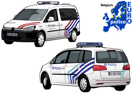 highway patrol: Belgium Police Car - Colored Illustration from Series Europol, Vector