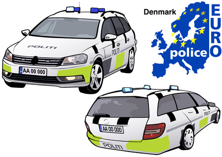 highway patrol: Denmark Police Car - Colored Illustration from Series Europol, Vector