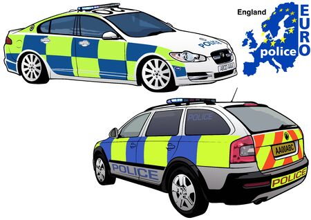 highway patrol: England Police Car - Colored Illustration from Series Europol, Vector
